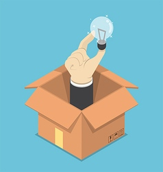 Isometric hand holding light bulb of idea sticking vector image vector image
