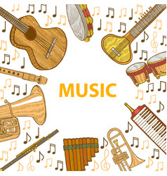 musical instruments template in hand drawn style vector image vector image