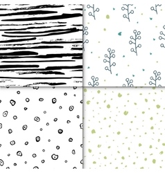 Set of seamless floral pattern isolated on vector image vector image