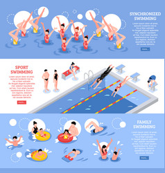 swimming horizontal banners collection vector image