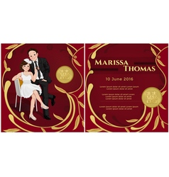 Wedding Chinese invitation with happiness text vector image vector image