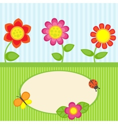 Flowers and butterfly vector