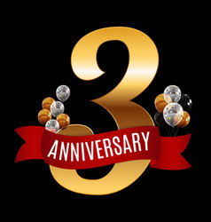 golden 3 years anniversary template with red vector image