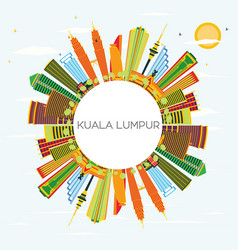 kuala lumpur skyline with color buildings blue vector image vector image