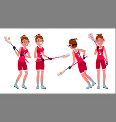 lacrosse female player high school or vector image