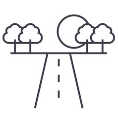 road in horizont line icon sign vector image
