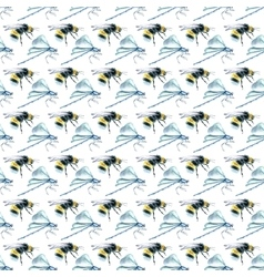 Watercolor Bumblebees and Dragonfly seamless vector image