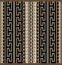 3d striped greek seamless borders pattern vector image