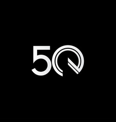 50 years anniversary celebration white line vector