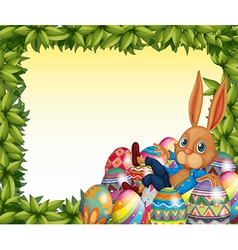 A male bunny in a leafy frame border vector