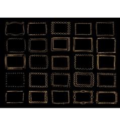 a set hand drawn gold frames vector image