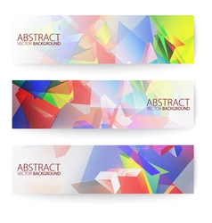 Abstract 3d triangular banners set vector image