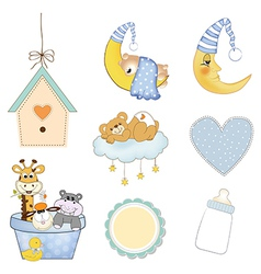 baby boy items set in format isolated on white vector image