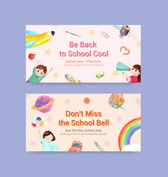 back to school and education concept with twitter vector image