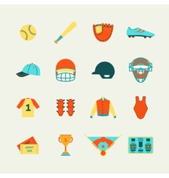Baseball icons set flat vector image