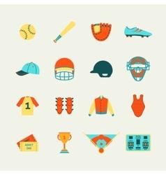 Baseball icons set flat vector
