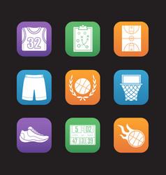 basketball flat design icons set vector image