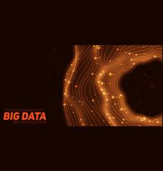 big data orange circular visualization futuristic vector image