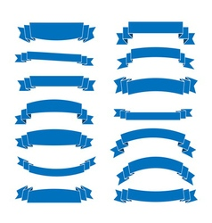 Blue ribbon banners set vector image