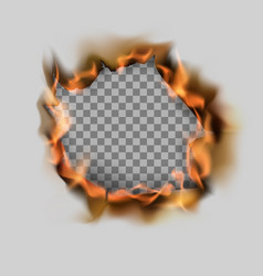 burning torn hole in paper sheet and flame on vector image