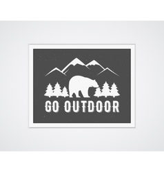Camping frame template with travel poster vector image