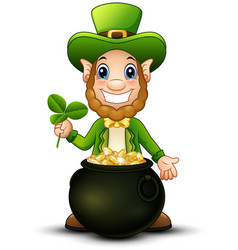 cartoon leprechaun with pot of gold and holding cl vector image