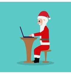 Cartoon Santa Claus sits in a chair for a laptop vector