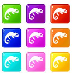 Chameleon icons 9 set vector