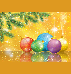 christmas background with fir and balls vector 15441655