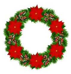 Christmas wreath with poinsettia vector