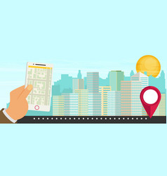 City navigation web banner flat vector