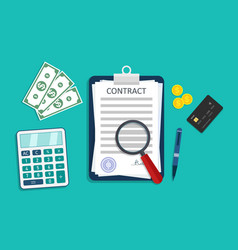 contract icon with money calculator pen vector image