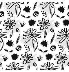 contrast hand drawn ink flowers pattern vector image