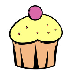 cupcake icon cartoon vector image