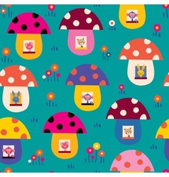 cute animals in mushroom houses kids pattern vector image
