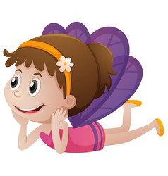 cute fairy with purple wings vector image