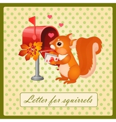 Cute squirrel with a Valentines day letter vector image