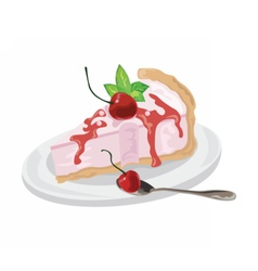 Delicious cake with cherries dessert vector