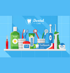 dental care accessories flat banner vector image