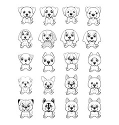 different type of cartoon dogs vector image