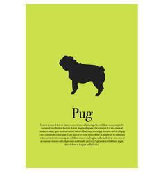 dog pug silhouette poster vector image
