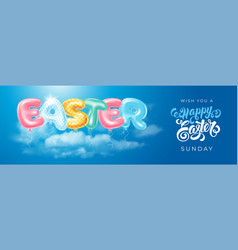 easter banner with balloons letters easter vector image