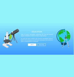 education banner with telescope and microscope vector image