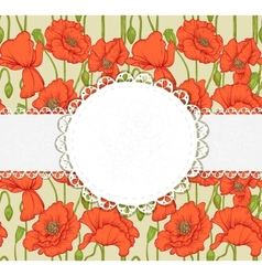 elegant vintage postcard with poppies vector image