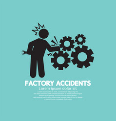 Factory accidents black symbol vector