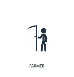 Farmer with scyicon simple gardening element vector