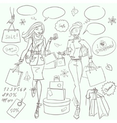Fashion and Beauty hand drawn collection vector image