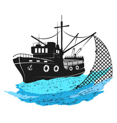fishing boat with nets vector image