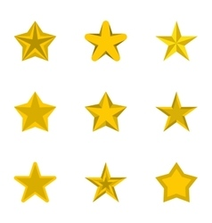 Five-pointed star icons set flat style vector