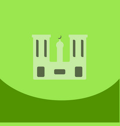 Flat icon on green square arabic mosque with the vector